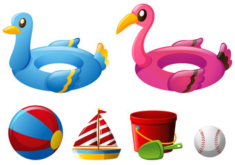 Beach toys with floating rings and ball