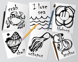 Graphic drawings of marine animals made with black mascara on white paper. Pencil, brush and pen on the table. Drawing and creativity on the sea theme. Vector