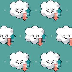 colorful background with pattern of animated cloud storage service vector illustration