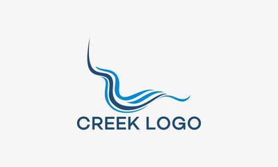 Creek Logo, Wave Logo designs template Wall mural