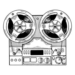 Tape recorder engraving style vector illustration