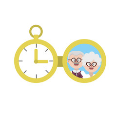 clock of pocket with family picture