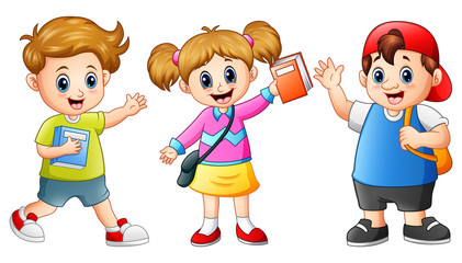 Happy school kids cartoon