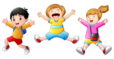 Happy school kids cartoon jumping