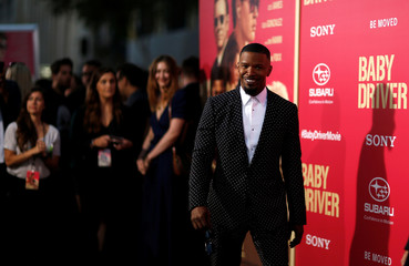 "Cast member Foxx poses at the premiere for the movie ""Baby Driver"" in Los Angeles"