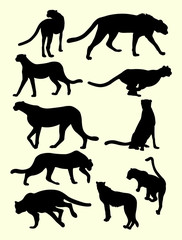 Cheetahs animals silhouette. Good use for symbol, logo, web icon, mascot, sign, or any design yo want.