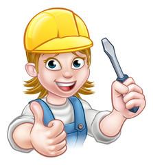Cartoon Woman Electrician Holding Screwdriver