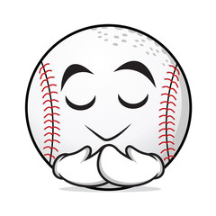 Praying baseball cartoon character