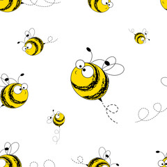 Bees seamless pattern. Vector illustration. Image of flying bees. Funny bees on a white background.