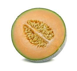 Cantaloupe melon half split isolated on white