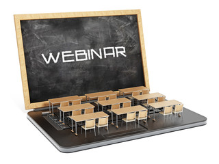 Webinar word on the blackboard as laptop screen. 3D illustration