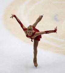 Anna Pogorilaya of Russia performs during the ladies' singles short program during China ISU Grand Prix of Figure Skating , in Beijing,