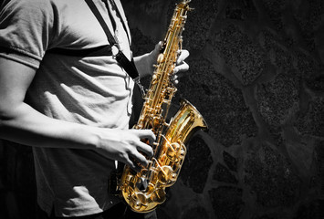 Man playing on saxophone