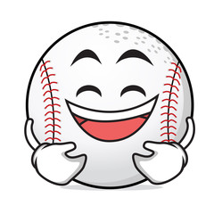 Laughing face baseball cartoon character