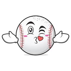 Kissing heart baseball cartoon character