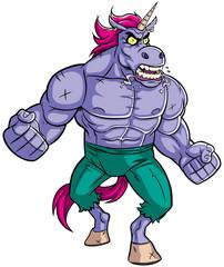 Unicorn Rage 2 / Cartoon illustration of mad raging unicorn.