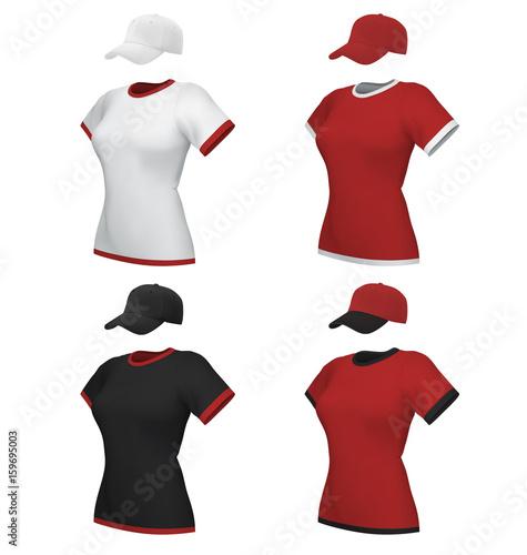 female blank uniform polo and baseball cap template set isolated on