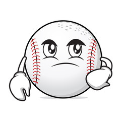Confused face baseball cartoon character