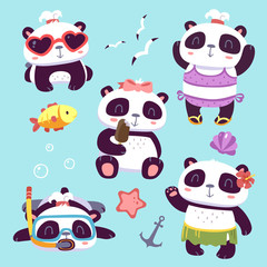 vector cartoon style cute girl panda summer beach set