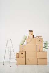 Piled up boxes in new apartment