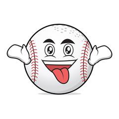 Crazy face baseball character cartoon