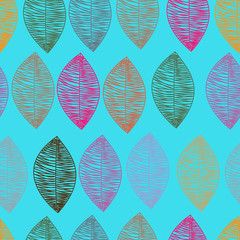 Seamless pattern of colored leaves on a blue background