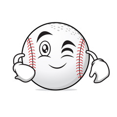 Wink face baseball cartoon character