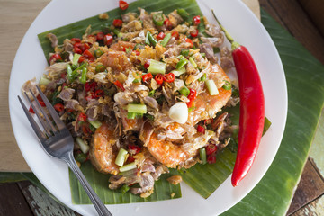 Food series: Deep fried prawns with garlic and chili, Thai food