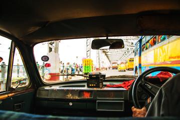 Kolkata, India. Riding the taxi in Kolkata, India city center Papier Peint