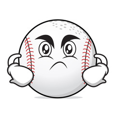 Angry face baseball cartoon character