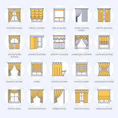 Window curtains, shades line icons. Various room darkening decoration, lambrequin, swag, french curtain, blinds and rolled panels. Interior design thin linear signs for house decor shop. Blue color.