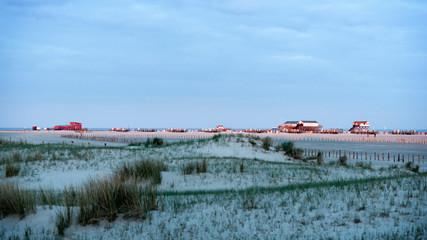 Wall Mural - Dünenlandschaft und Pfahlbauten früh morgens in St. Peter-Ording | Nordseeküste