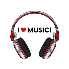 Beautiful headphones. Vector illustration for a postcard or a poster, print for clothes. Music and sound. I love music.
