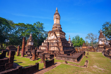 Wat Chedi Jet Thaew at Si Satchanalai Historical Park, a UNESCO World Heritage Site in Thailand