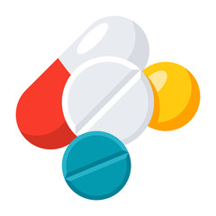 Medication concept with different pills, vector icon in flat style