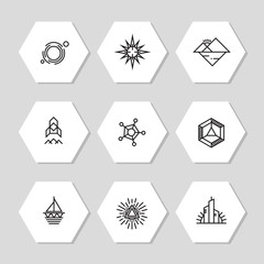 Minimal geometric icons set - abstract line icons