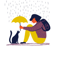 Girl with umbrella protects a cat. Cartoon vector illustration. Help for animals concept.