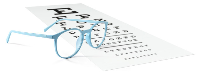 blue eyeglasses on visual test chart isolated on white. Eyesight concept