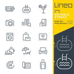 Lineo Editable Stroke - Hotel line icons Vector Icons - Adjust stroke weight - Expand to any size - Change to any colour