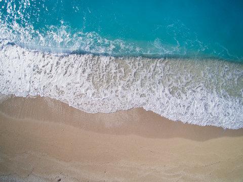 Aerial of Kathisma beach in Lwfkada island Greece