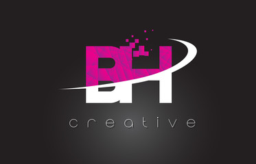 BH B H Creative Letters Design With White Pink Colors
