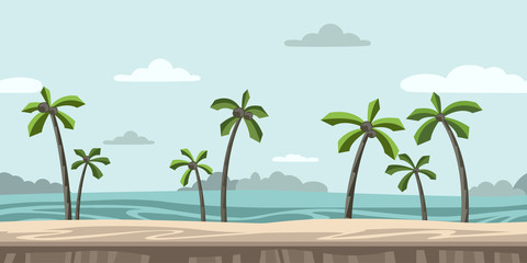 Seamless unending background for arcade game or animation. Sandy beach with palm trees and clouds in the blue sky. Vector illustration, parallax ready.