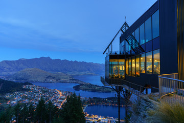 Beautiful cityscape of Queenstown in blue hour , South Island of New Zealand