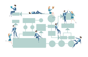 Business flowchart, process management diagram with businessmans and businesswomans characters. Vector illustration, isolated on white background.