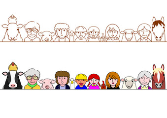 family and farm animals border set