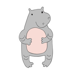 Cute cartoon hippo character, vector illustration in simple style. Isolated on white background.