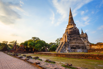 Wat Phra Si Sanphet temple in Ayutthaya Historical Park, a UNESCO world heritage site, Thailand