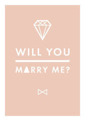 Will you marry me trendy vector postcard