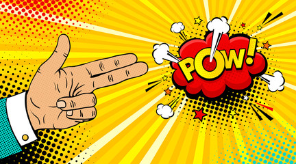 Pop art background with male hand with two fingers like a revolver and Pow dynamic speech bubble on dots background. Vector colorful hand drawn illustration in retro comic pop art style.