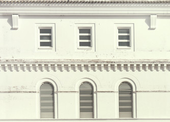 Windows. Close up of facade with classic style  windows